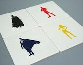 Justice League Superhero Letterpress Coasters - Set of 4 - Batman, Flash, Superman, Wonder Woman
