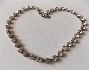 Vintage Rhinestones Daimante White Necklace - LOVELY