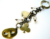 Bridesmaids Gifts, Bead and Charm Brass Keychain, Zipper Charms - Brass Harlequin Charm Key Chain with Clear Beads - Gift Ideas