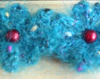 Knitted Flower Hair Clip Barrette