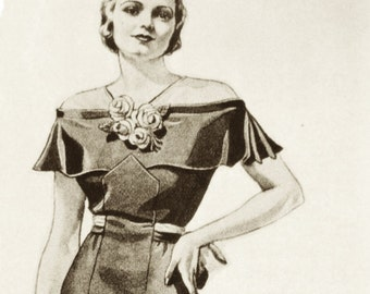 1930s evening gown sewing vintage pattern. Cool shoulderless sleeves on this one.