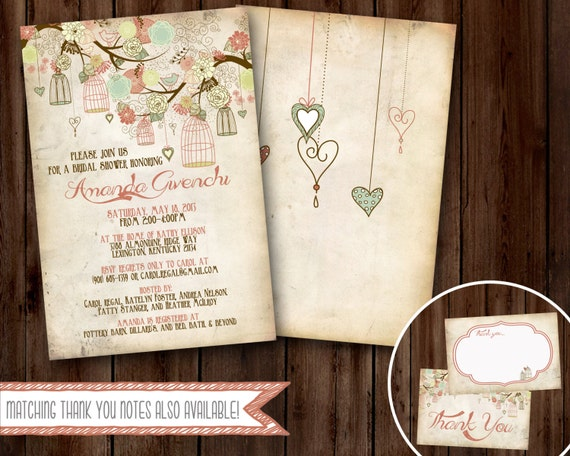 rustic baby shower invitation coral bird cages digital file only