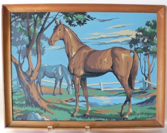 vintage paint by number horse in pasture from Diz has Neat Stuff