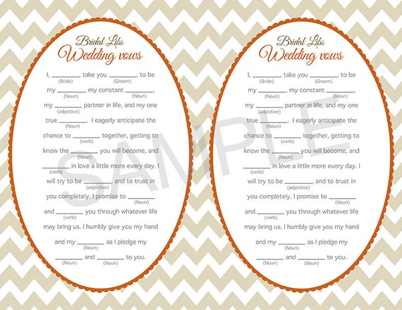 Wedding Vow Mad Libs Bridal Shower Game By Amomentremembered