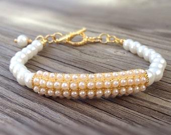 White Bracelet - Wedding Jewellery - Pearl Jewelry - Yellow Gold - Beaded - Bride - Fashion - June Birthstone
