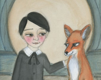 Victorian Portrait Painting, Billy and the Red Fox - Orphan Boy and Red Fox, Goth llustration Portrait (6x8) Art Print