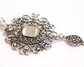 Ornate Elegant Victorian Edwardian Silver Filigree Necklace With Large Clear Diamond-Like Cabachon & Gems
