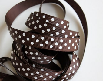 "5/8"" Grosgrain Dotted Ribbon in Brown with White Dots - 25 yd Spool"