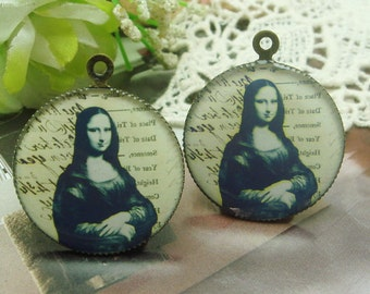 4 pcs (25mm) Antique Bronze Plated Glossy Resin Pendant(GR2521)