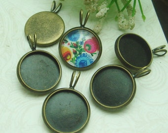10pcs Antiqued Bronze Vintage Brass Pendant /Charms,14x18mm (12mm setting)