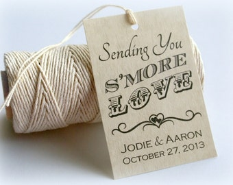 S'more Love Printable Gift Tags, DIY Custom Wedding Favors, Favour Tags, S'mores Personalized Tags by Event Printables