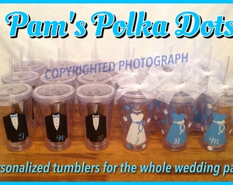 Personalized Clear WEDDING PARTY TUMBLERS with Dress or Tuxedo Bride Groom Bridesmaid Groomsman