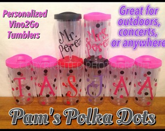 12 Personalized VINO 2 GO Wine To Go Acrylic Tumblers Sippy Cup Name Initial Monogram Polka Dots picnics tailgates weddings with Discount