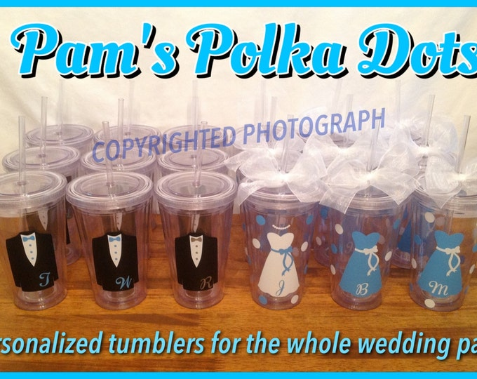 14 Personalized Clear WEDDING PARTY TUMBLERS with Dress or Tuxedo Bride Groom Bridesmaid Groomsman