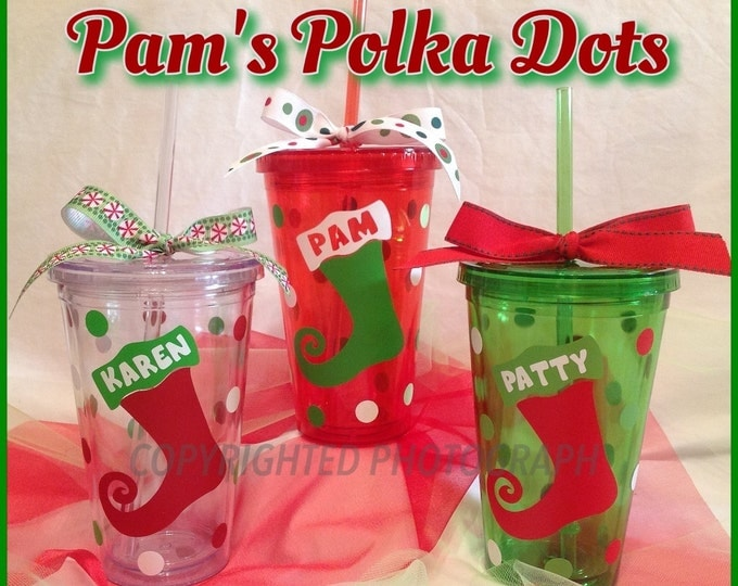 3 Personalized Acrylic CHRISTMAS TUMBLERS with STOCKING Red Green Clear with Name or Initial