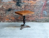 Oak Bistro Table with Cast Iron Base