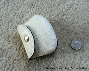 100% hand stitched handmade ivory white cowhide leather Ipod, ear buds, coin, trinket, jewelry,case / pouch