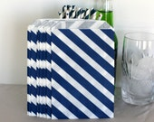 Navy blue party bags in a diagonal stripe, Navy birthday loot bags, Navy bitty bags, Navy wedding favor bags, vintage Navy popcorn bag,