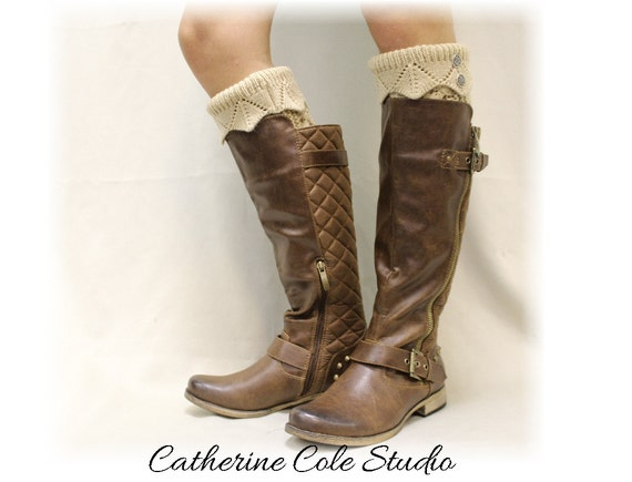 Leg warmers thick knit legwarmers womens legwarmers boots winter leggings boot cuffs hand knit look LUXE Camel  Catherine Cole Studio LW35