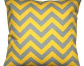 Toss Pillows, Grey and Yellow Chevron Pillow, Decorative Pillow Cover, Zippered Pillow, Corn Yellow Pillow, Grey Pillow, Zig Zag Pillow