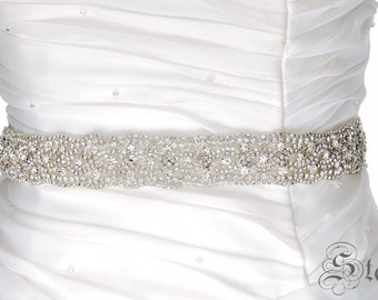 SALE ELIZABETH Wedding Belt, Bridal Belt, Sash Belt, Crystal Rhinestones