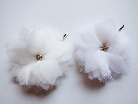 Two White Silk Chiffon Multi Layer Flower Hair Pin- Hair Accessories