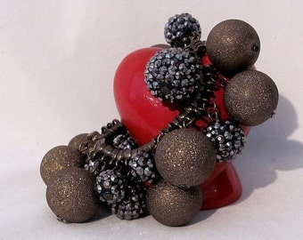 Artisian Vintage Bracelet - Stretchable - Gold Glitter Balls and Silvery Pave Aurora Borealis Balls