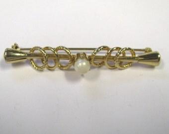 Vintage White Faux Pearl Bar Brooch, Bar Pin, White faux pearl pin