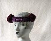 Purple headband with pompoms, 1920s burlesque style headpiece, chorus girl costume