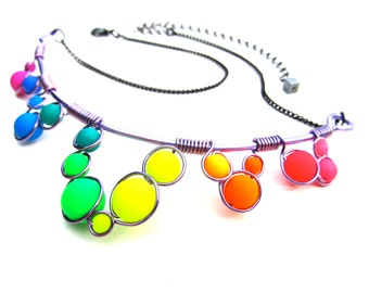 Wire Wrapped Necklace - Rainbow Neon Glass Beads Purple Wire and Adjustable Matching Chain