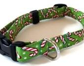 Candy Cane Christmas Dog Collar size Large