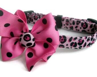 Pink Leopard Dog Collar size Medium