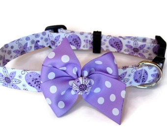 Purple Paisley Dog Collar size Medium