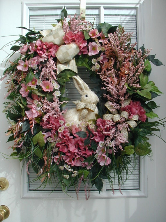 Spring wreath easter decoration sisal straw bunny rabbit large for Sisal decoration