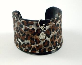 Recycled Vinyl Record Animal Print Cuff Bracelet