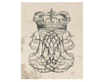 Crest of French Nobility 12, Peerage Insignia Emblems - 8x10 Digital Files to Download Print, Similar to Restoration Hardware, 16 available