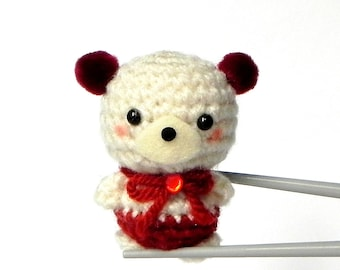 RED pom pom ears BBQ MochiQtie - Crochet Amigurumi Mochi size mini bear toy doll