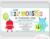 PRINTABLE Monster Birthday Party Invitation, Monster Bash Invitation - 5x7