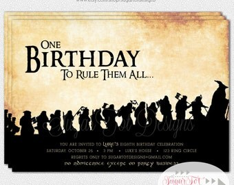Lord Of The Rings Birthday Party Invitation