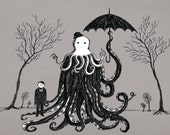 Young Master Lovecraft finds a friend- A4 art print by Jon Turner- geeky HP Lovecraft pen and ink artwork