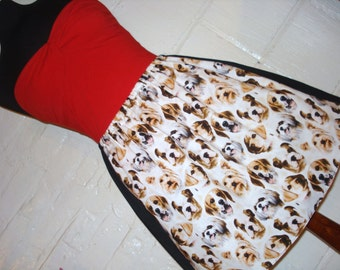 Plus Size Dog Face Skirt -  Puppy Print Skirt - High Waisted Ladies Mini Skirt - Handmade & Ready to Ship