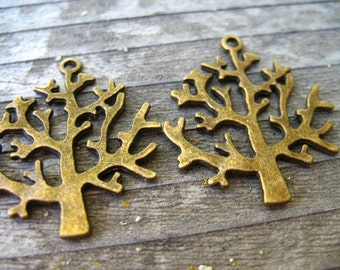 3 Bronze Tree Pendants  32mm Tree of Life