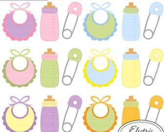 Baby Bibs, Bottles, and Safety Pins- Set 2 - pink, blue, purple, green, yellow, orange bib, bottle, safety pin