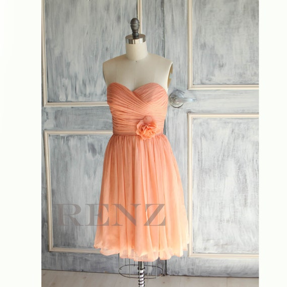 Peach Wedding dress , chiffon party dress,bright peach bridesmaid dress, strapless formal dress  (A017)