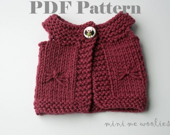 DIGITAL KNITTING PATTERN Flutterfly Doll Vest  by Mini Me Woolies. Fits Waldorf Dolls American Girl Dolls Bamboletta