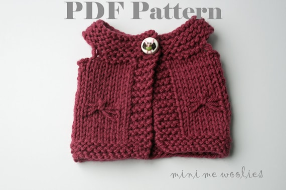 DIGITAL KNITTING PATTERN Flutterfly Doll Vest by Mini Me