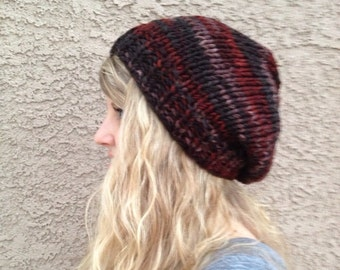 Variegated Slouch Beanie in Earth for Men or Women Knit Hat