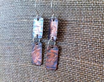 Handmade copper and sterling silver dangle earrings