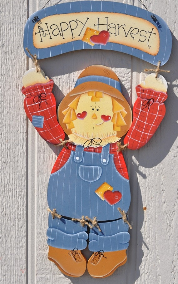 Harvest Sign On Barnwood For Fall Front Porch Decor: Scarecrow Hanging With Happy Harvest Sign By Countrypainting