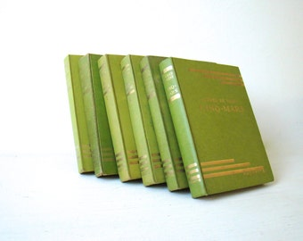 antique book bundle, french springtime collection, weathered greens, coordinating book, french book stack, faded green hues, decorator books